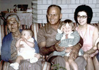 Little Grandma holding Lisa, Grandpa holding Shelly, and Mom. Photo taken at Lisa's baptism.