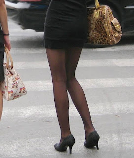 Street beat stockings: Black stockings legs