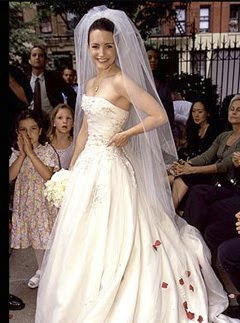 traditional ball gown wedding dress worn by Charlotte in Sex and the City