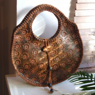 oval leather handbag