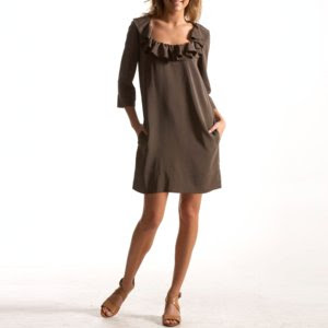 e.v. paris tunic dress, silk dress, ruffle dress