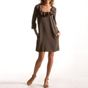 e.v. paris tunic dress, silk dress, ruffle dress