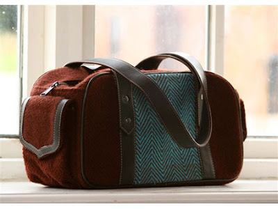 wool and woven cotton bag in turquoise and brown, winter bag, winter wardrobe must have for the classic fashion personality