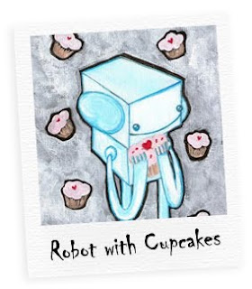 robot with cupcakes