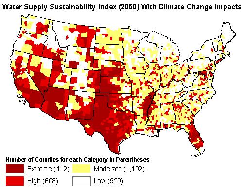 Water Supply Sustainability Index (2050) With Climate Change Impacts