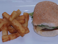 Camel burger and triple cooked chips