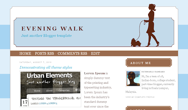 Evening Walk Blogger Template