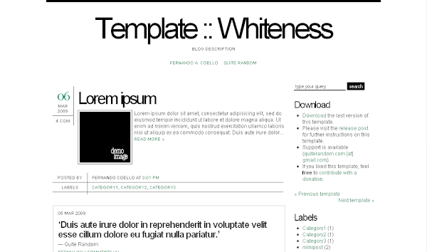 Whiteness 3C Blogger Template