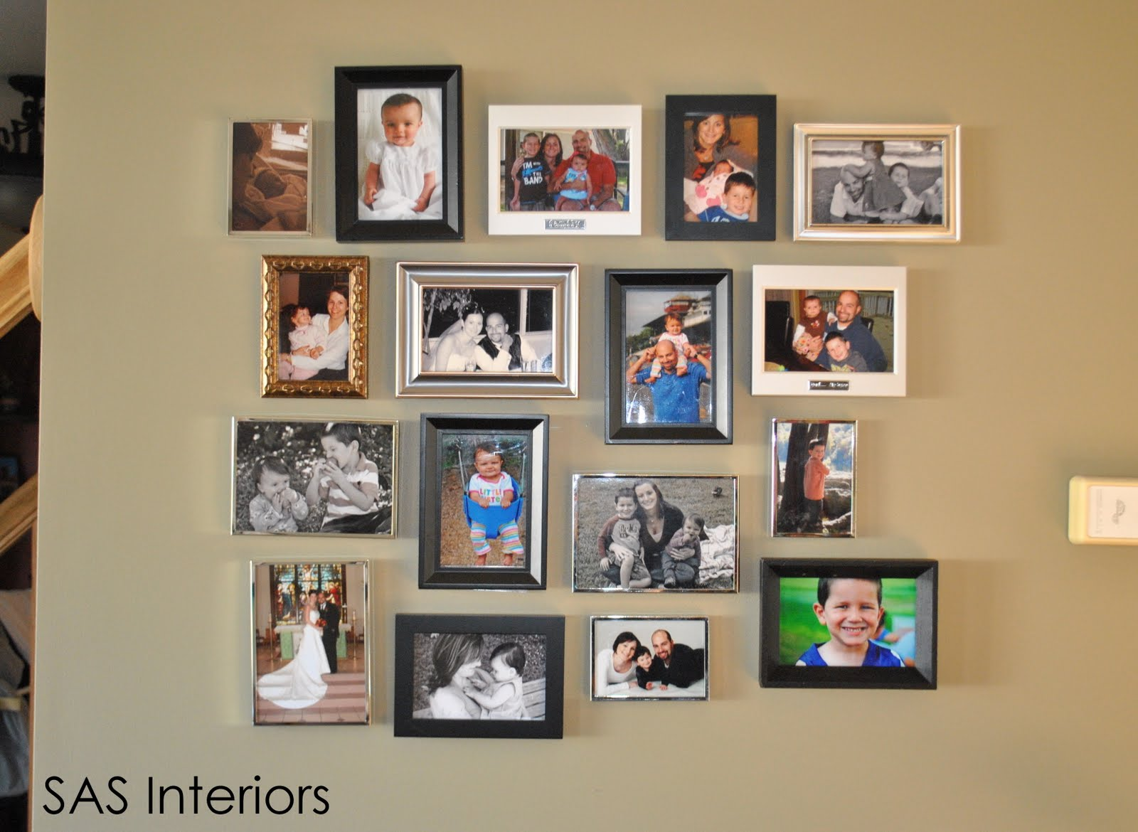 Diy photo montage creation jenna burger here is the completed photo montage wall this wall was truly created because i have sooo many family pictures throughout the house and i had no more space jeuxipadfo Gallery