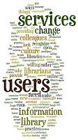 afbeelding van een woordenwolk met begrippen die te maken hebben met web 2.0 en bibliotheken