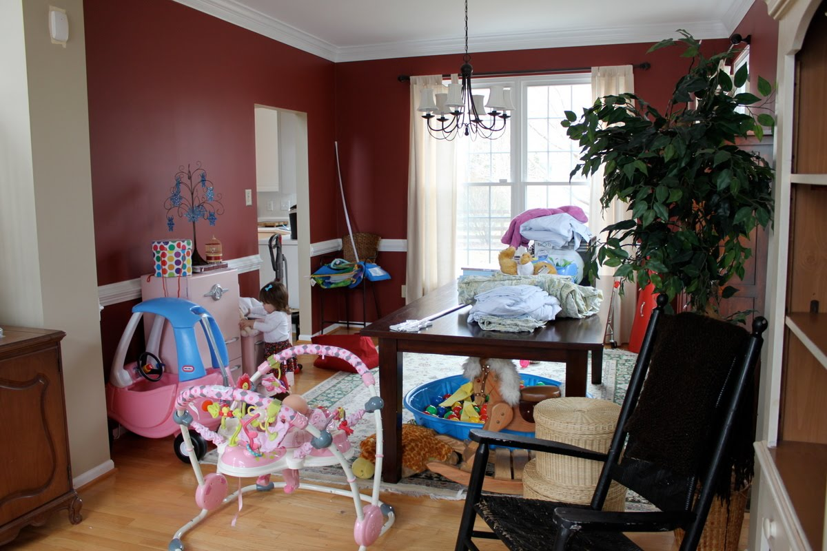dining room turned playroom. formal dining room to functional play