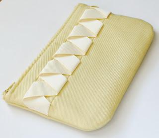 yellow handmade zipper pouch