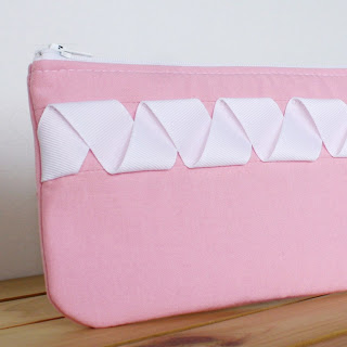 Handmade Zipper Pouch Pink and White
