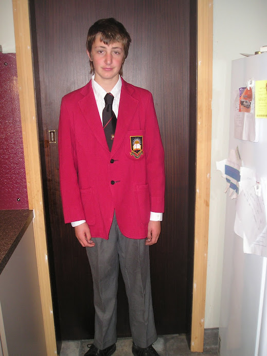 George in his travel uniform ready to go to Invercargill for the interschool with the debating team