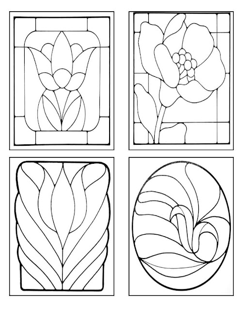 simple stained glass coloring pages - photo#20