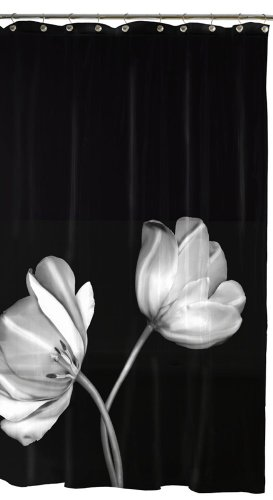 Bathroom Accessories Black And White Shower Curtain Maytex Tulip Photoreal Vinyl Peva Shower