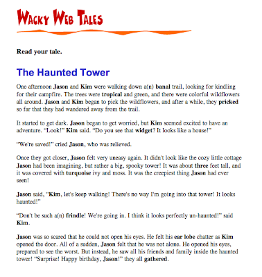 funny literacy games using acronyms, nouns, verbs etc on Wacky Web Tales