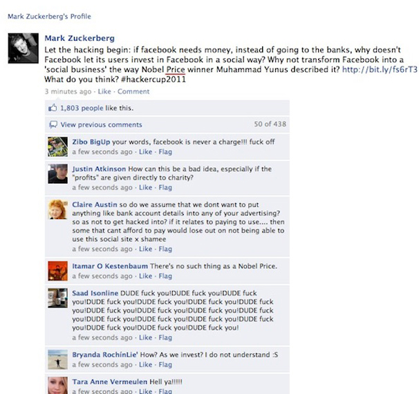 Facebook Founder, Mark Zuckerberg's Facebook Fan Page Hacked