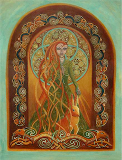 painting entitled MELANGELL - Protector of the Hare, by Jen Delyth
