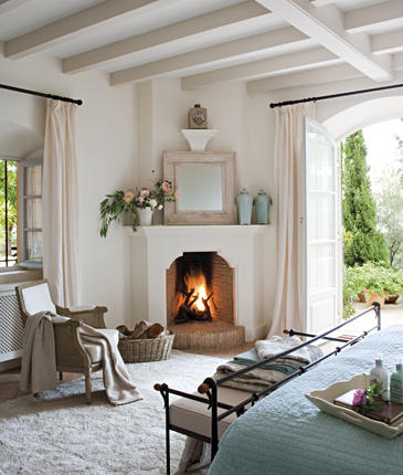 Fire places on pinterest fireplaces mantels and for Master bedroom corner fireplace