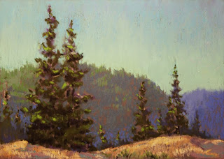pastel plein air fjord quebec st rose du nord trees soft pastels