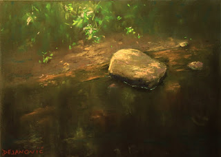 pastel painting plein air High Park creek soft pastels