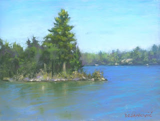 pastel painting plein air quinte pine tree soft pastels