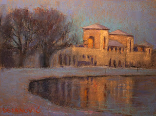 Toronto Sunny Side Pavilion, pastel plein air painting of sun setting and light reflceting in lake ontario