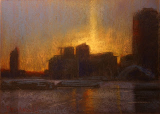 Toronto palace pier, pastel plein air painting of sun setting and solar pillar formed over the silhouetted buildings
