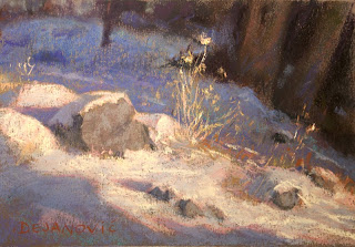 pastel painting plein air in High Park soft pastels, snow covered ground with rocks and dried grass