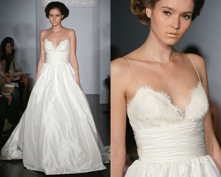 wedding dresses with straps or sleeves. it has tiny straps: Show