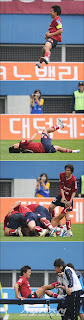 Koh Jung-soo injures himself after a last-minute goal for Daejeon - photo courtesy of Sports Chosun.