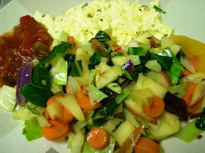 Gluten Free, Dairy Free Sauteed Fruit & Veggie Scrambled Eggs