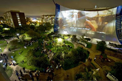 Outdoor cinema Nokia - world's biggest cinema screen