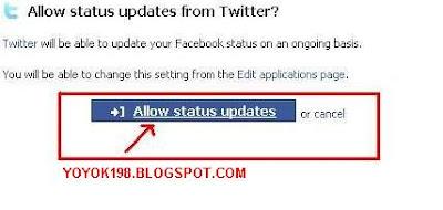 Sekarang setiap kamu update status twitter otomatis status di facebook