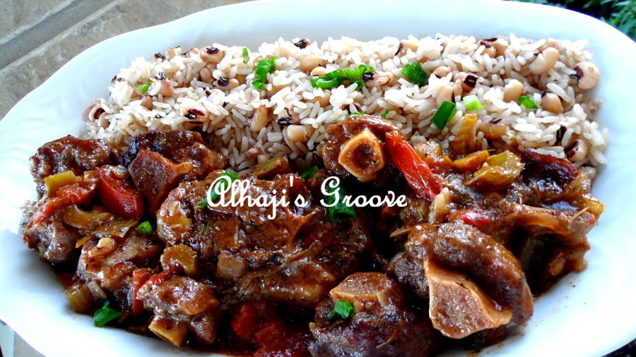 food and lens stewed oxtails with rice and black eye peas