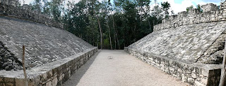 One of two ballgame courts at the Mayan ruins of Coba