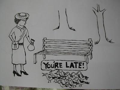 birds,old woman,park bench,cartoon,webcomic
