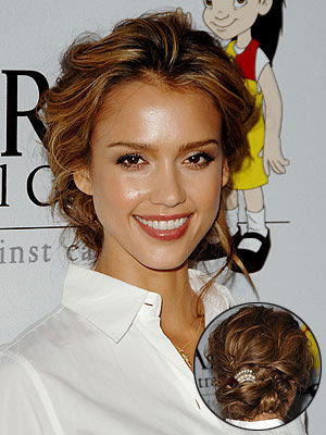 jessica alba updo. Loose fitting updo hairstyle.