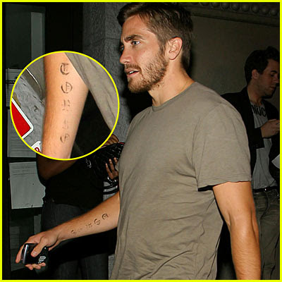 Jake Gyllenhaal has been spotted with a couple of tattoos lately, ...