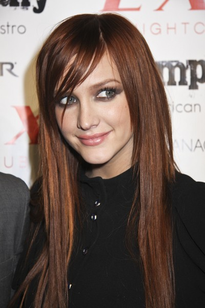 Ashlee Simpson long straight brunette hairstyle.