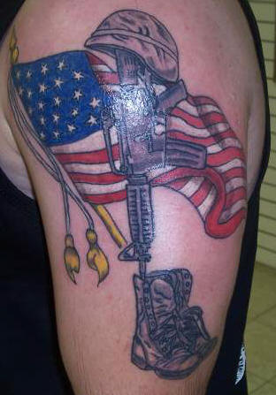 Latin Tattoo Designs American flag and army tattoo.