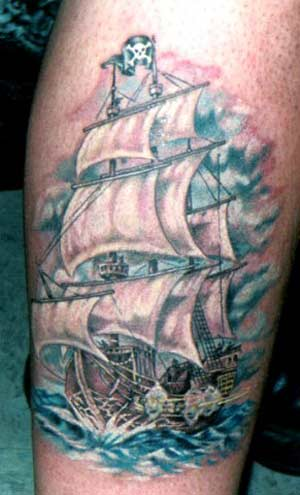Old pirate ship tattoo.