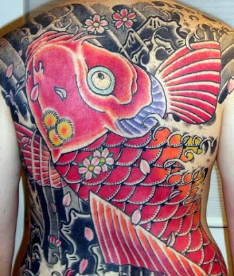 koi fish tattoo pictures. Huge koi fish back piece.