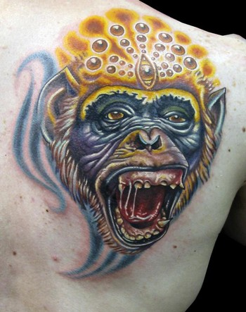 3D cartoon monkey tattoo.