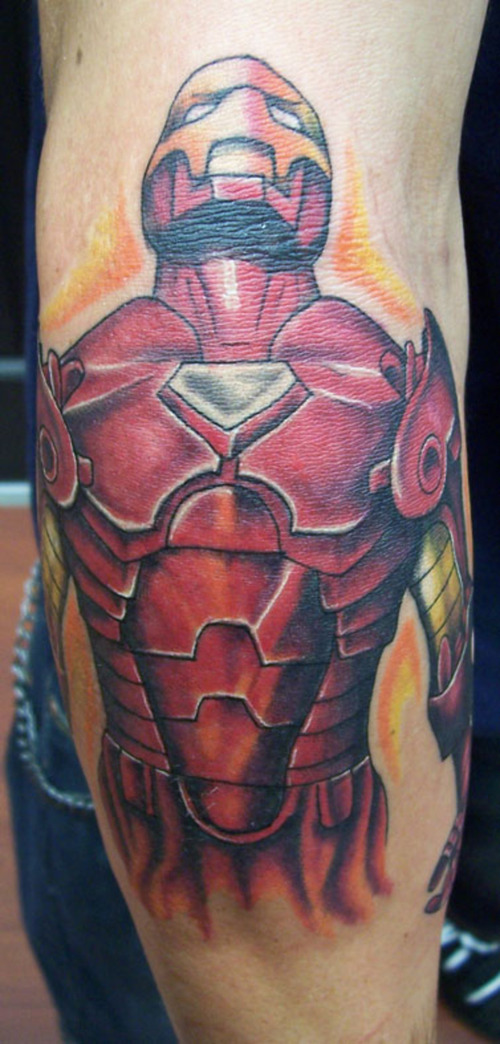Comic book iron man tattoo.