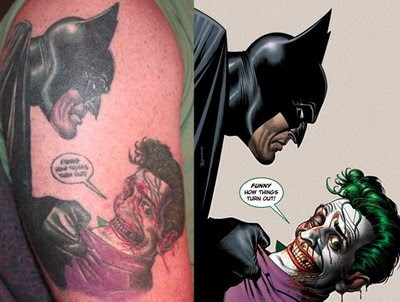 Batman and Joker cartoon character tattoo.