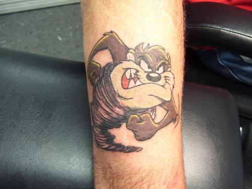 Taz cartoon tattoo.