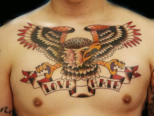 chest tattoo quotes for men. with eagle chest tattoo.