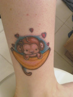 Butterfly Tattoos Baby monkey with banana ankle tattoo for girls.